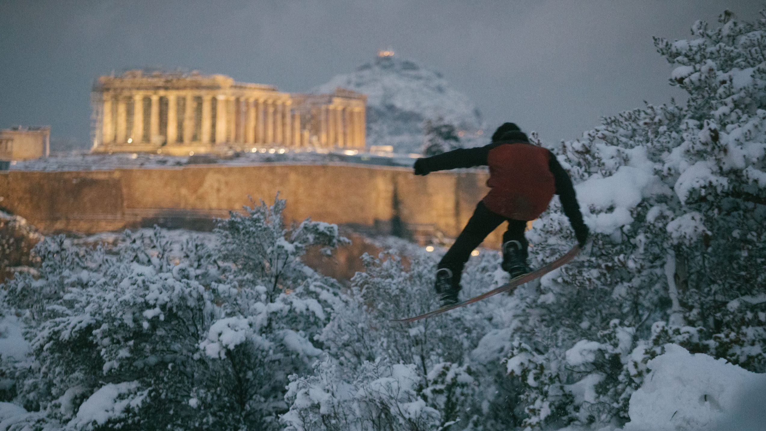 Snowboarding the Parthenon